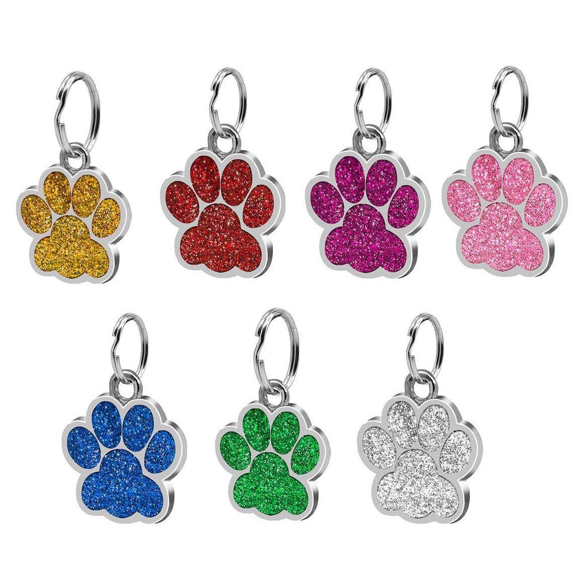 Huellas de Moda Pet Colgante Decoraci/ón Encantadora Joyer/ía para Mascotas Popular Glitter Huella Tarjeta de Identidad Etiqueta de Perro Accesorios para Mascotas