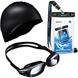 Mpow Swimming Kit, 1 Pair of Swim Goggles, 1 Swimming Cap and 1 Waterproof Case for Aquatics