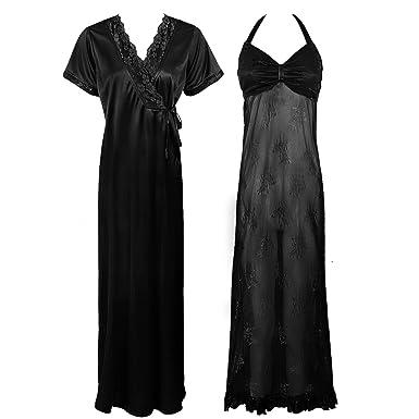 Ladies Luxury Sheer Honeymoon Nightie Womens Nightwear 2PC Set -Black-One  Size  Regular (8-14)  Amazon.co.uk  Clothing c4eda8932