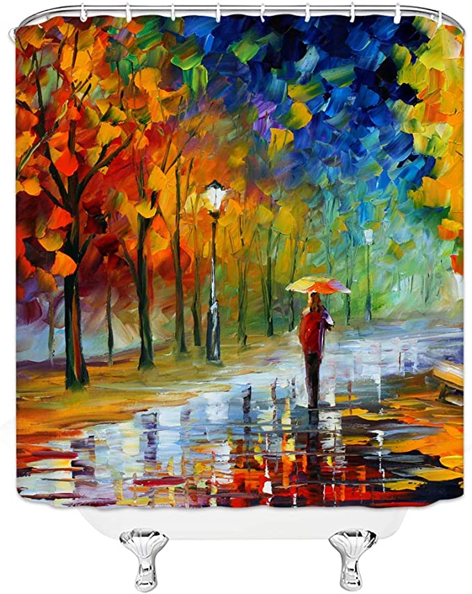 Dachengxing Woman Retro Shower Curtain Abstract Oil Painting Decor Girl Holding Umbrella Roam Rain Street Colored Tree Fantasy Night Scenic Waterproof Blue Green Red Fabric Hooks Included 70x70 Inch Kitchen Dining Amazon Com