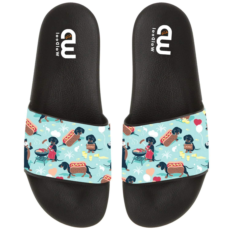 Cartoon Dachshund Hot Dog Print Summer Slide Slippers For Men Women Kid Indoor Open-Toe Sandal Shoes