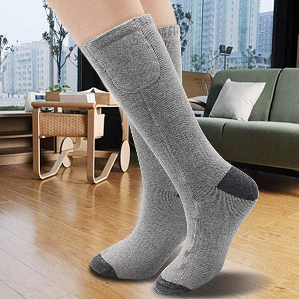 CTEGOOD Rechargeable Electric Heated Socks Powered Battery 7.4V 2200MAH Cold Winter Snow Electric Foot Warmer with 3 Temperature Level Adjustable for Men Women