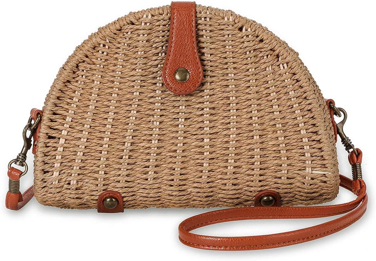 Crossbody Straw Bag, JOSEKO Womens Straw Handbag Shoulder Bag for Beach Travel and Everyday Use