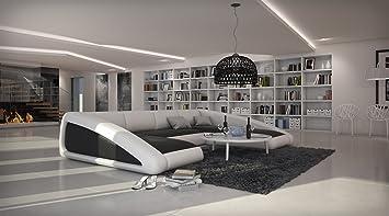 XXSR Mbel Design Wohnzimmer Sofa Garnitur Ciao Landschaft Rechts Schwarz Weiss Inkl Kissen