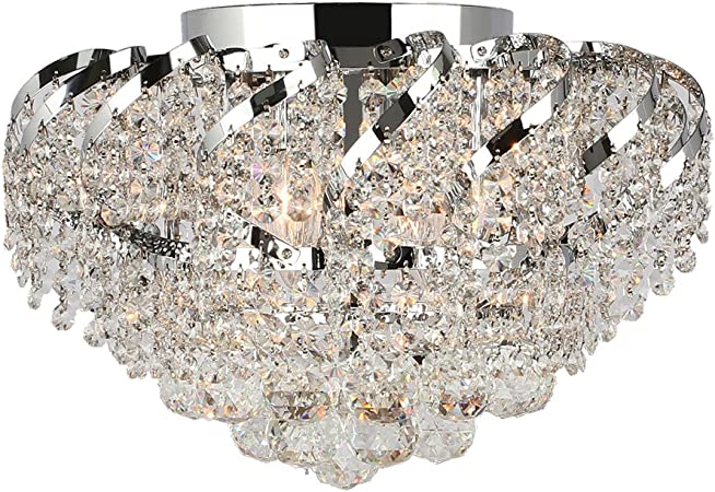 """US BRAND French Empire 3 Light Clear Crystal Flush Mount Ceiling Small 8/"""" Mini"""