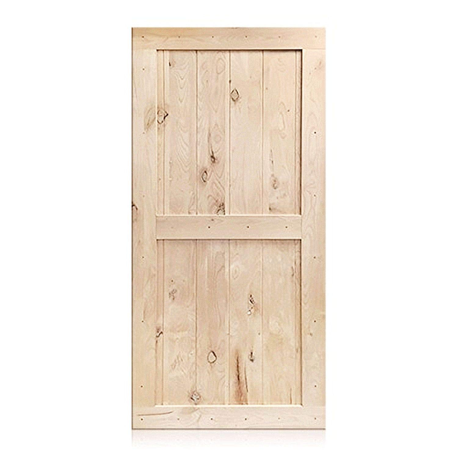 HOMACER Sliding Barn Door Natural Pine Wood Panel Slab, 42in x 84in Classic Design with Frame, Perfect for Interior, Exterior, Closet and Bedroom Use