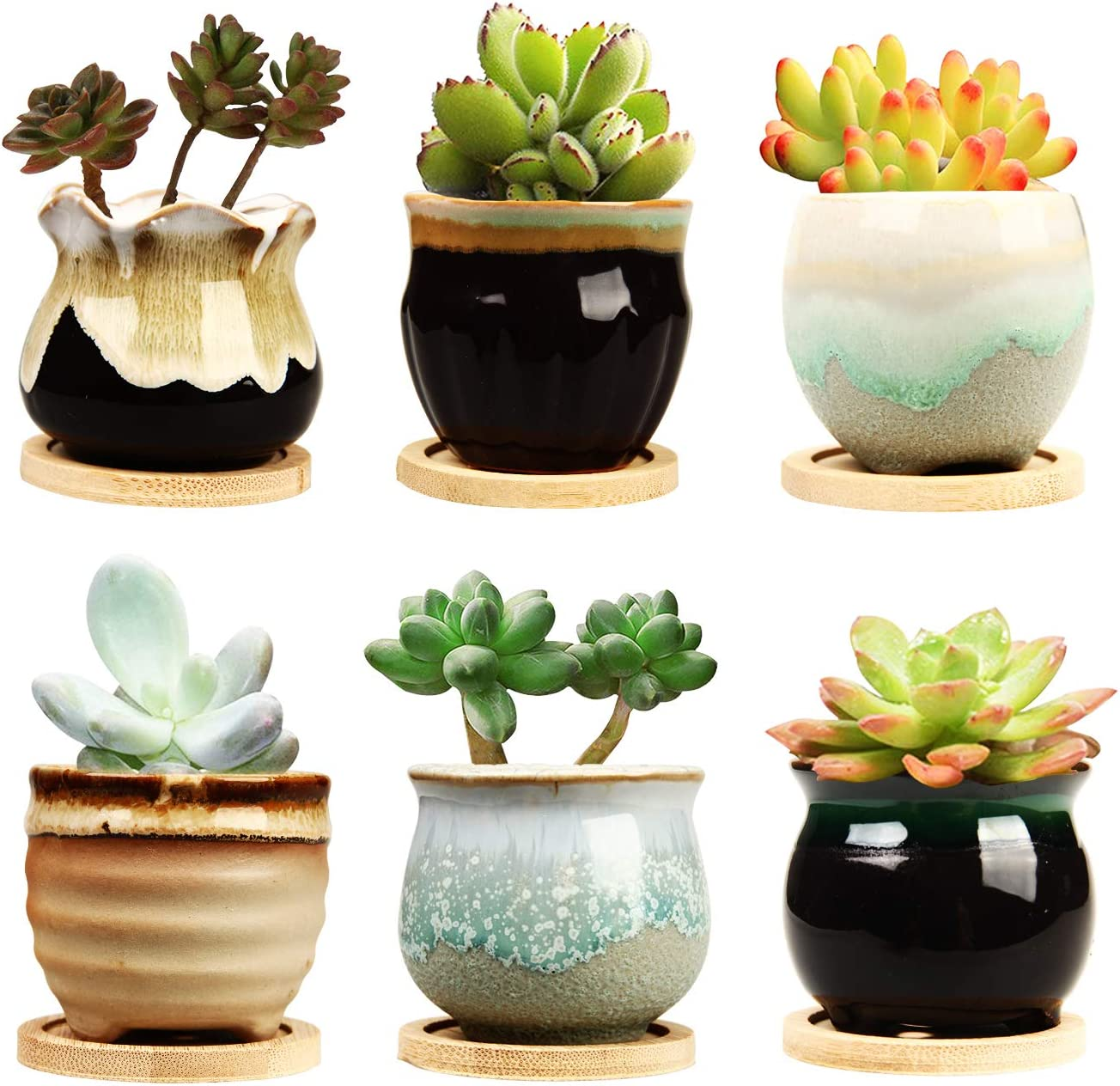 Brajttt 3.3 Inch Ceramic Succulent Planter Pot with Drainage,Planting Pot  Flower Pots,Small Planter Pots for Mini Plant Ceramic Flowing Glaze Base