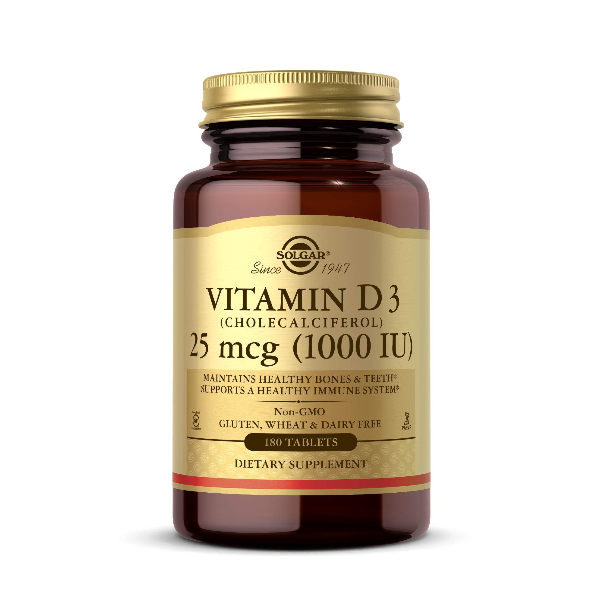 Solgar Vitamin D3 (Cholecalciferol) 25 mcg (1000 IU), 180 Tablets - Helps Maintain Healthy Bones & Teeth - Immune System Support - Non-GMO, Gluten Free, Dairy Free, Kosher - 180 Servings
