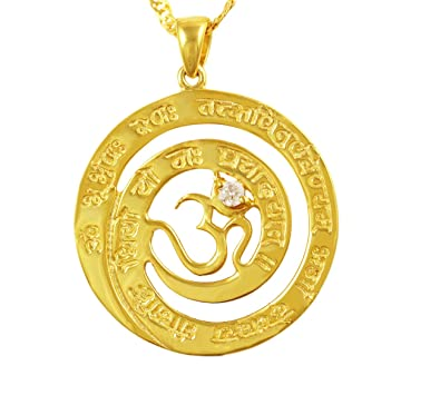 Exxotic Designer 925 Sterling Silver Gayatri Mantra OM Pendant for Men &  Women