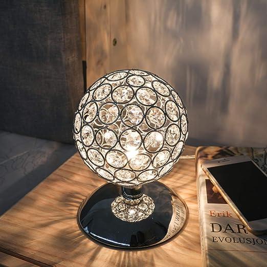 KINGSO Lámpara de Mesa Cristal Lámpara de Cabecera Control Táctil Bombilla Compatible G9 Brillo Regulable AC 230V Decoración de Lámpara para ...