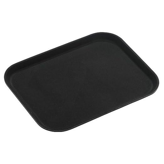 Bandeja Tuffgrip de plástico y goma antideslizante, plástico, negro, 16x12