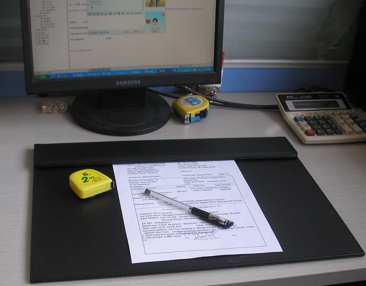 A3 Colore Nero KINGFOM Sottomano da scrivania in Pelle Ultra Liscio 46 x 35 cm
