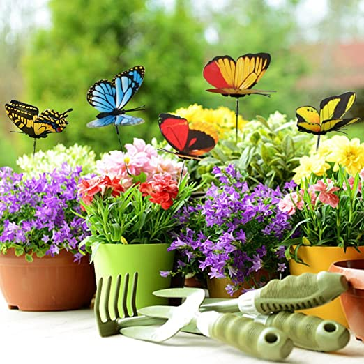 ZhongYeYuanDianZiKeJi 50 Piezas Mariposas en varillas Coloridas de Jardín Adornos de Patio para Decoración de Planta, Ornamento de Jardín: Amazon.es: Jardín