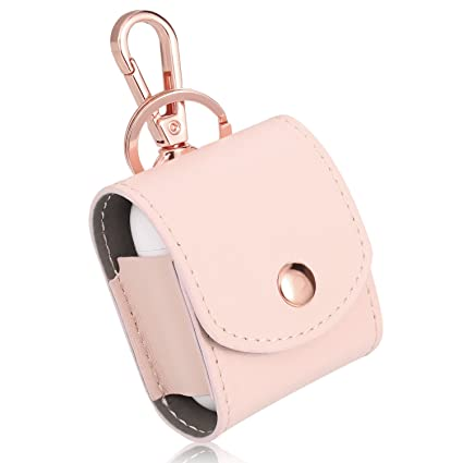 separation shoes 4546f c35f2 Rosa&Rose Leather AirPods Case Cover with Metal Clasp and Keychain  Compatible Earphones Charging Case (Pink)