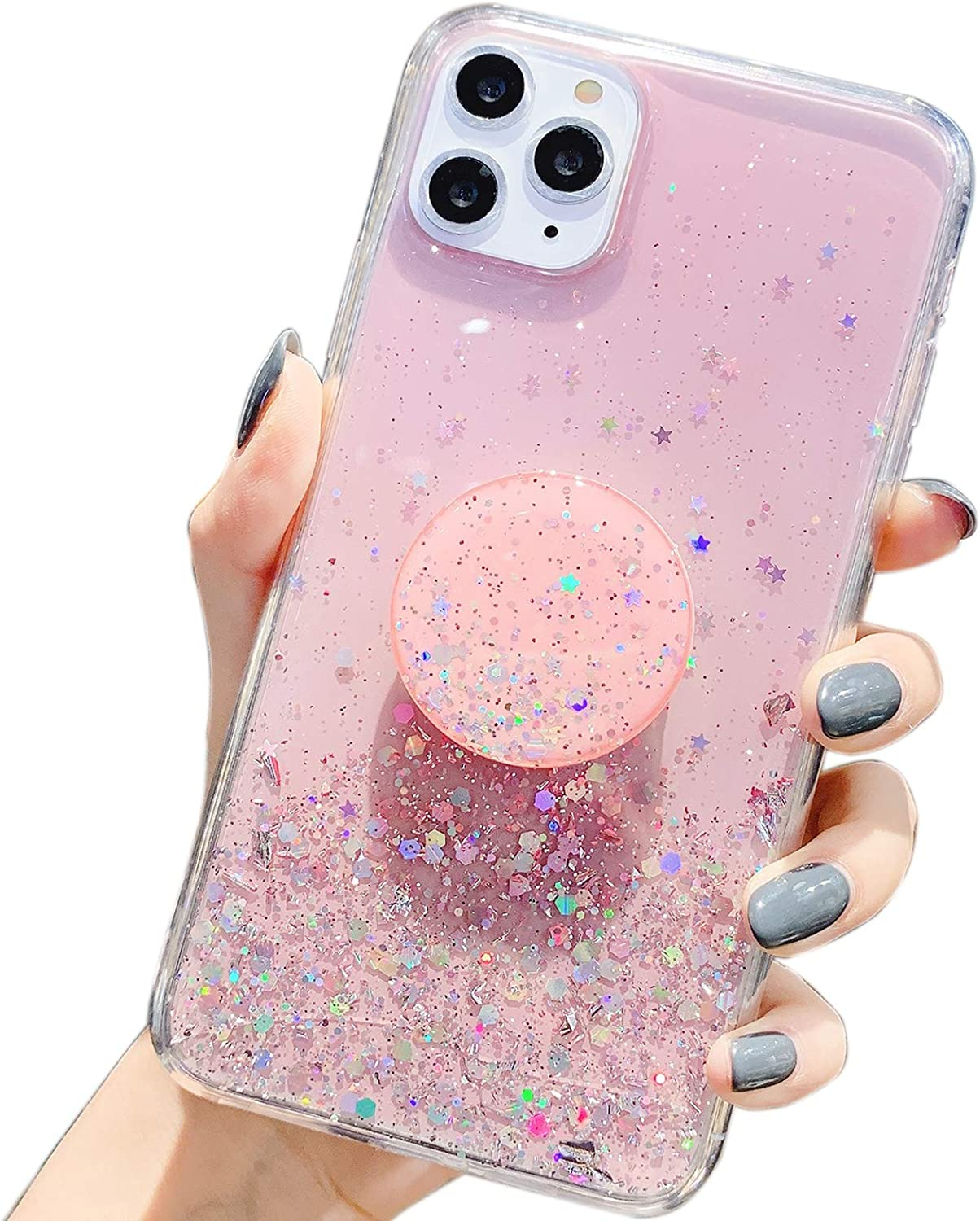 Winzizo Designed for iPhone 11 Pro Max Case Glitter Sparkle Bling Women Girls Cute Cases with Ring Kickstand Slim Soft Silicone Phone Protective Cover 6.5 inch (Pink)