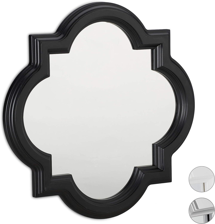 Carton Cadre Miroir /à accrocher Vintage Plastique Verre PP H x B: 39,5 x 39,5cm Relaxdays 10025681/_55 Mural Nostalgie Argent 5 x 2,5 cm