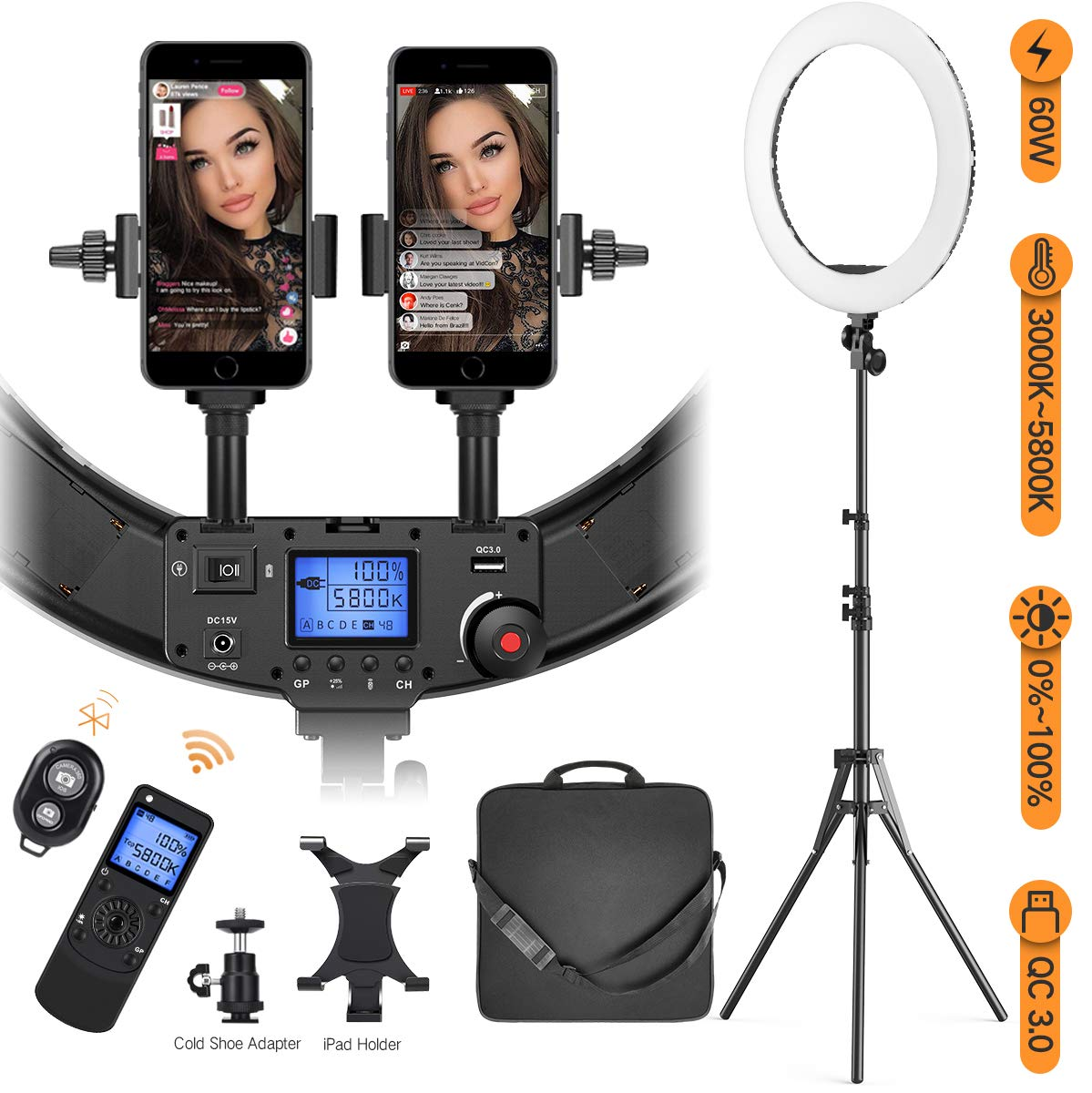 Ring Light with Wireless Remote and iPad Holder, Pixel 19'' Bi-Color Ring Light with Stand,60W 3000-5800K CRI≥97 Light Ring with USB QC 3.0 for Vlogging Portrait Makeup Video Shooting