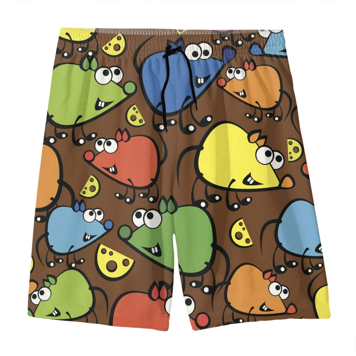 Mens Swim Trunks Cute Colorful Mouse Printed Beach Board Shorts with Pockets Cool Novelty Bathing Suits for Teen Boys