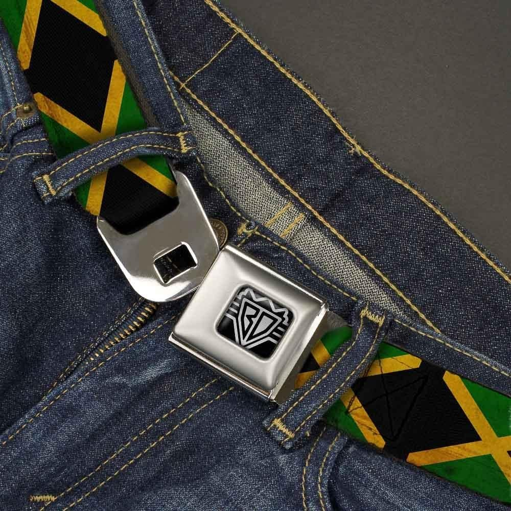 Jamaica Flags Vintage Black 32-52 Inches in Length 1.5 Wide Buckle-Down Seatbelt Belt