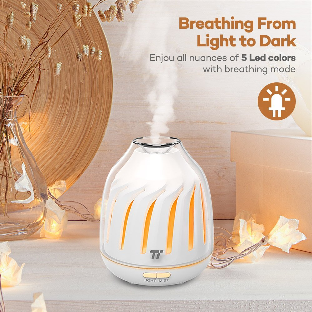 TaoTronics Diffuser, No-Beep Sound Essential Oil Diffusers, Silent Operation 120ml Aromatherapy Diffuser Kids (Breathing Light, 5 LED Colors, 2 Mist Modes Ultrasonic, Waterless Auto Shut Off) by TaoTronics (Image #2)