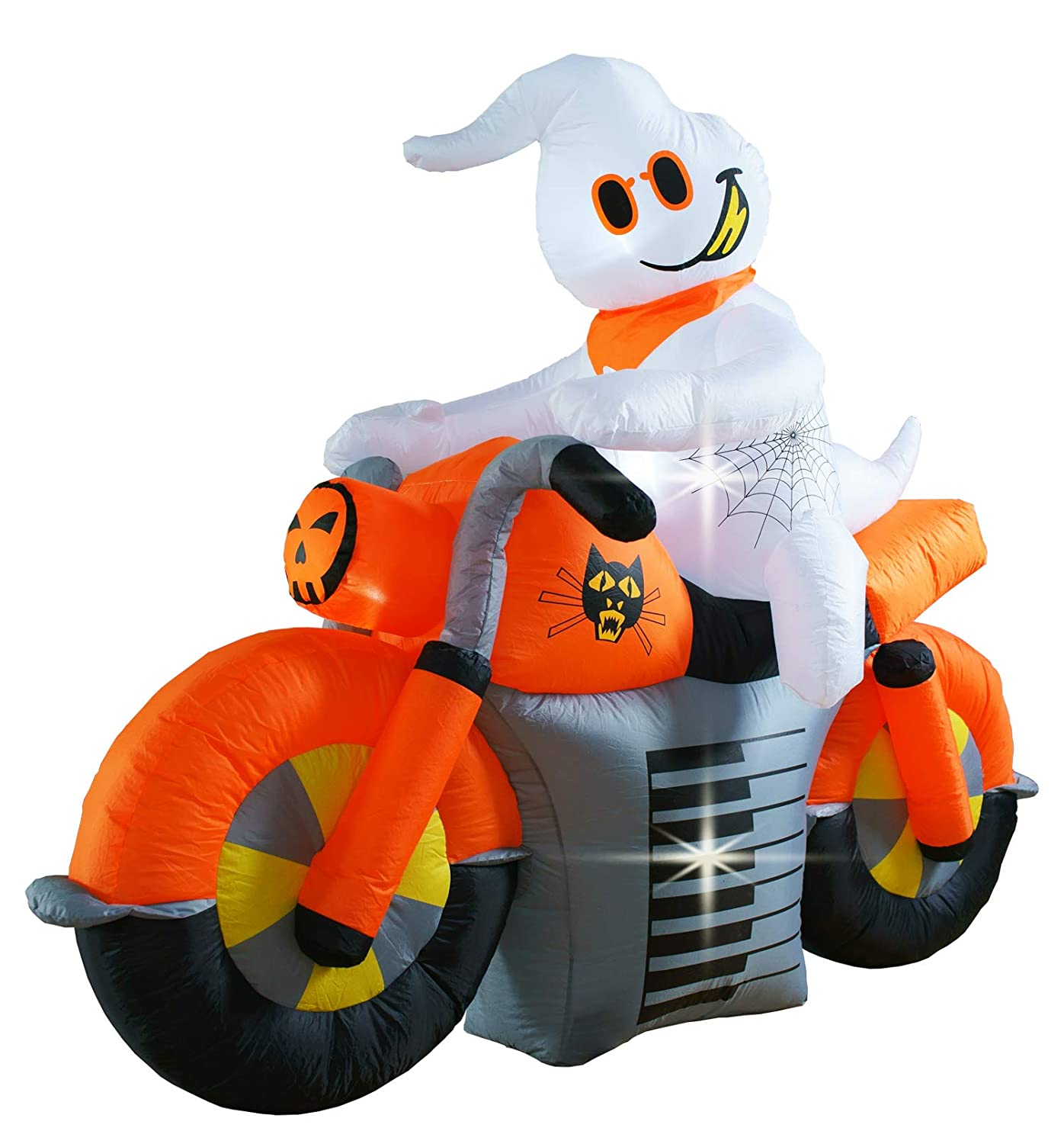 Bigjoys 7 Ft Halloween Motorcycle Decoration Inflatable Ghost Ride a Motorcycle Decorations Decor for Home Yard Lawn Garden Indoor Outdoor CHH1458-210