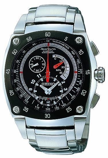 Seiko Sportura Kinetic - Reloj analógico de caballero automático con correa de acero inoxidable plateada (
