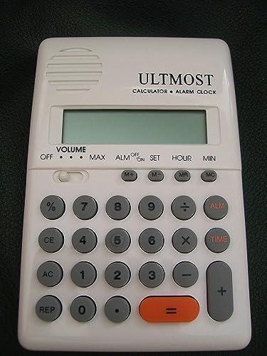 White Handheld , Pocket Talking Calculator with Alarm – ENGLISH Language