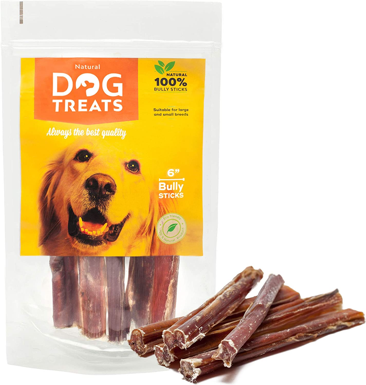 Palos para Perros 6 Pulgadas 100% Naturales Carne de Res de Cuero Crudo de Toro Bocadillo, 5 Piezas