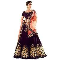 Pd Cloth Villa Women's Silk Semi-Stitched Lehenga Choli(Free Size-Purple)