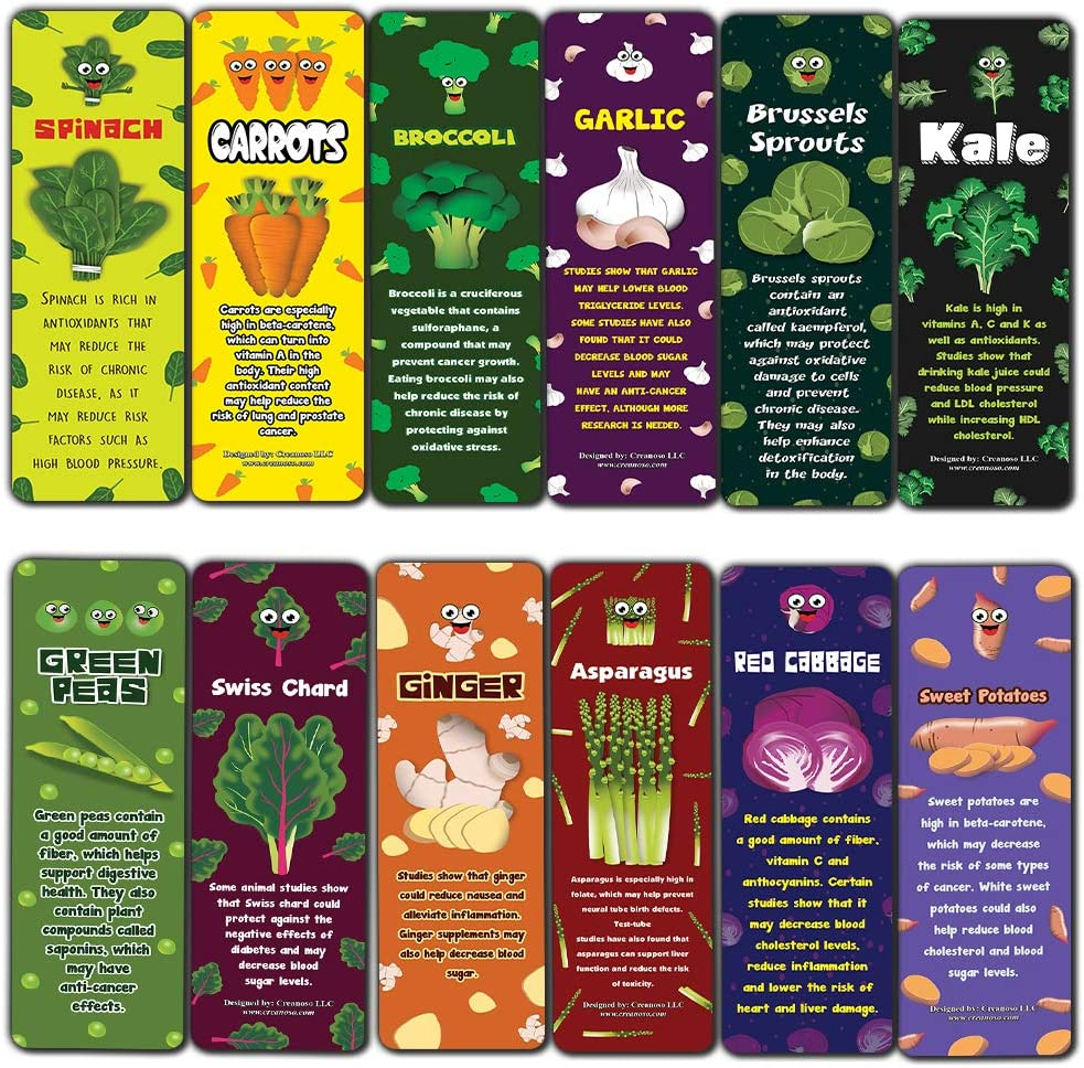 Vegetables Bookmarks Cards (30-Pack) - Healthy Choice Nutrition Food Educational Teaching Material - Keepsake for Kids Children - Teacher Rewards for Students Classroom Rewards Incentive