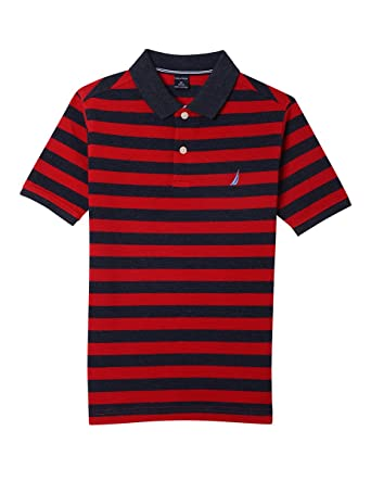 65ff7d4b62737a Nautica Boys' Big Short Sleeve Striped Deck Polo Shirt, Harrison Red Rouge,  Small