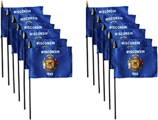 product image for Set of 12 4x6 E-Gloss Wisconsin Stick Flag - Flag Only - Made in The USA