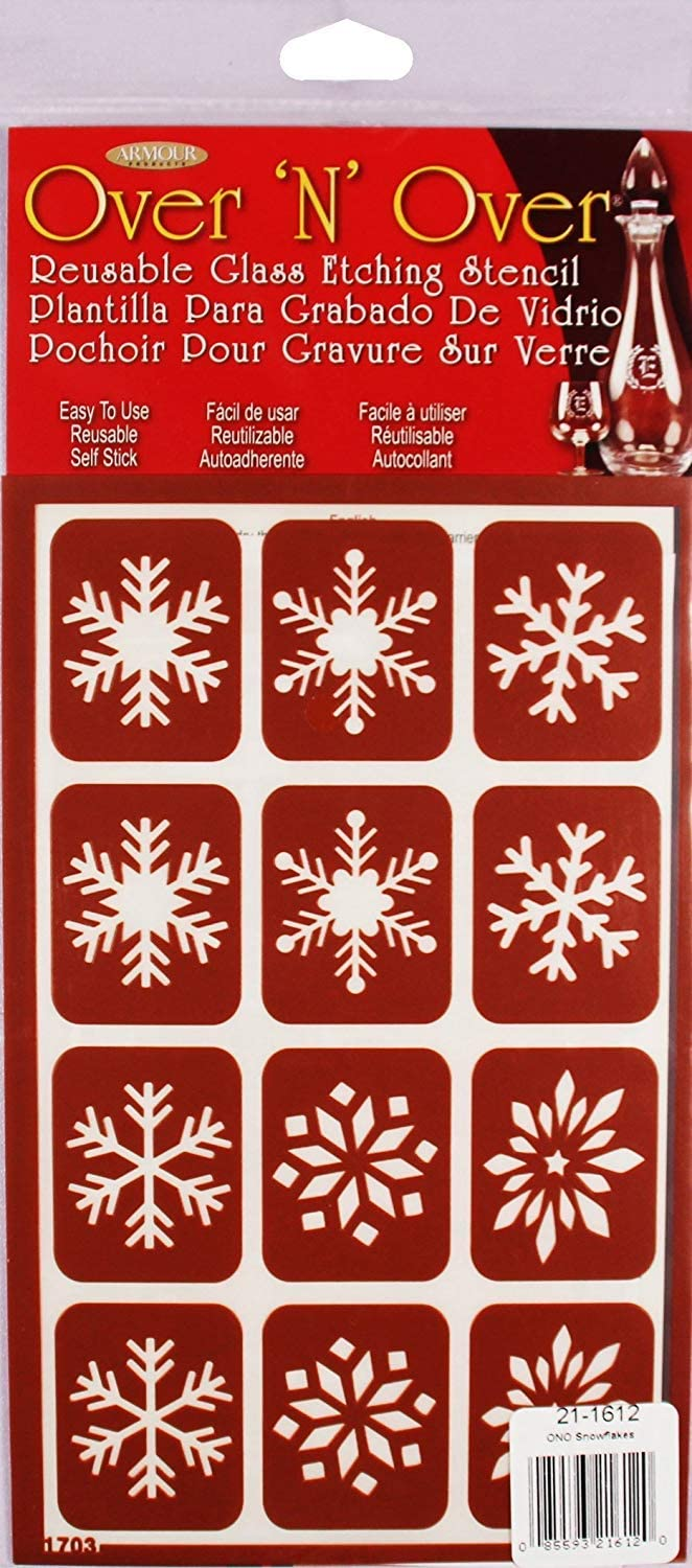 Armour Etch Over N Over Stencil Snowflakes