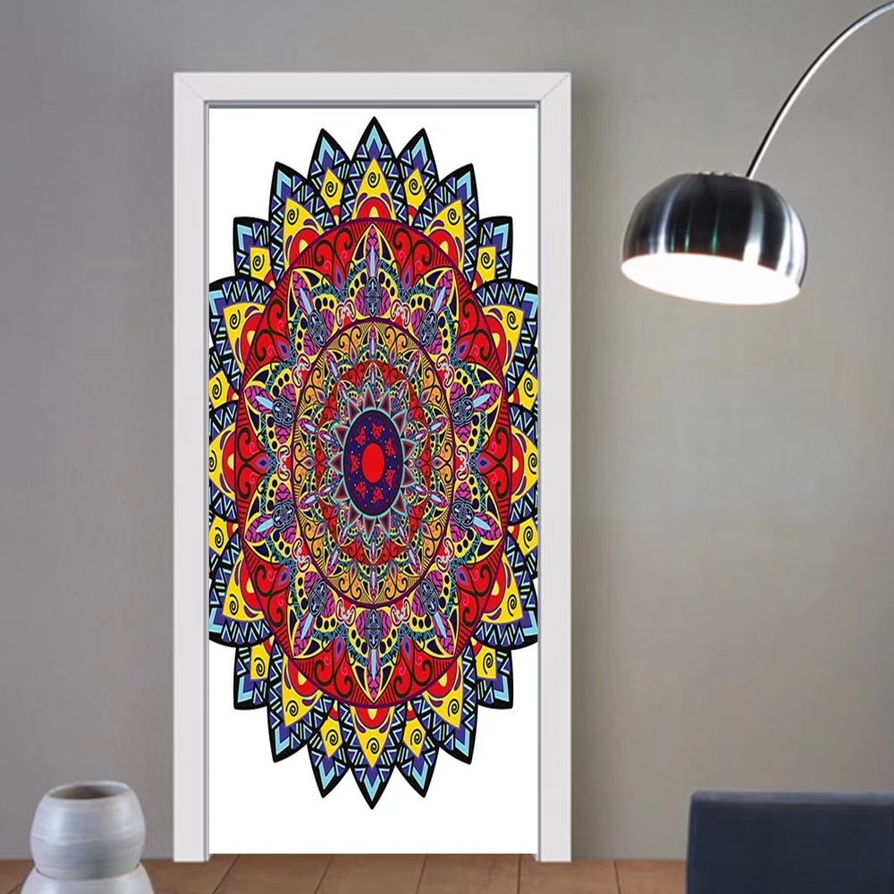 Gzhihine custom made 3d door stickers Mandala Indian Spiritual Universe Symbol Cosmos Zen Boho Stylized Ethnic Folk Floral Figure Multicolor For Room Decor 30x79
