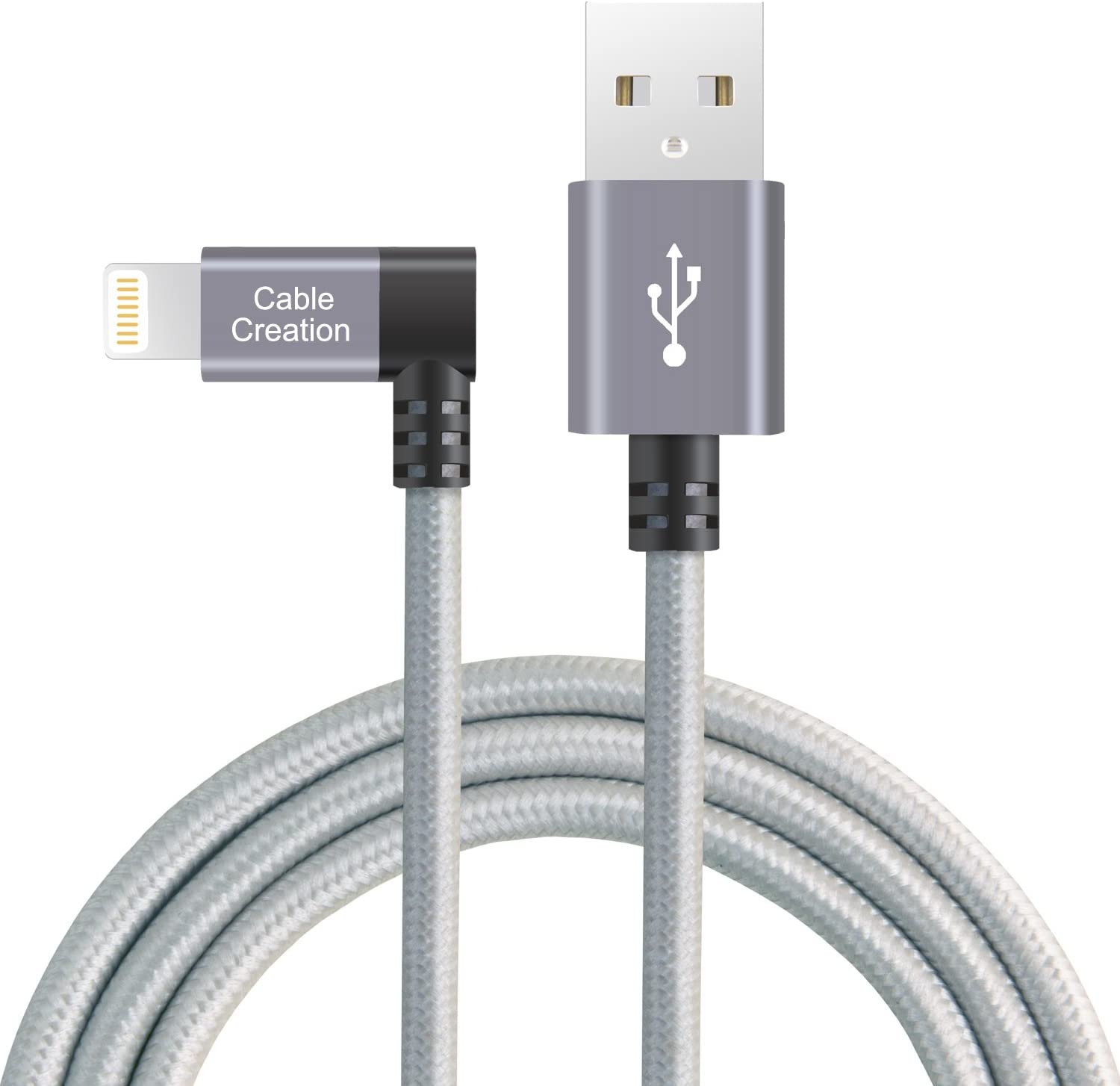 Angle Lightning to USB Data Sync Charge Cable, CableCreation 4 Feet 90 Degree iPhone Charger [MFi Certified], Compatible iPhone 12 11 Pro Max XR X Xs 8 7 Plus 6S 6 5 iPad iPod, Space Gray, 1.2 M
