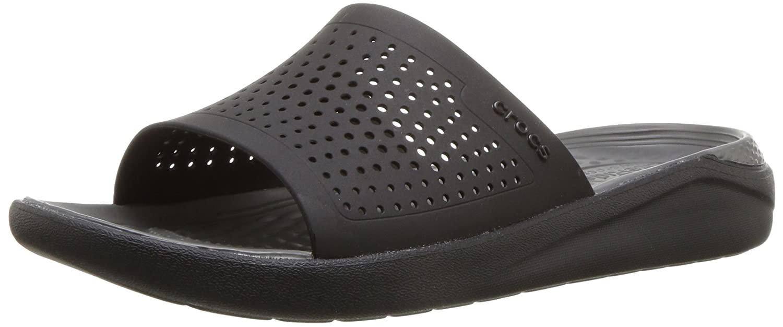 Crocs Unisex LiteRide Slide B076JKSHB7 13 US Men / 15 US Women|Black/Slate Grey