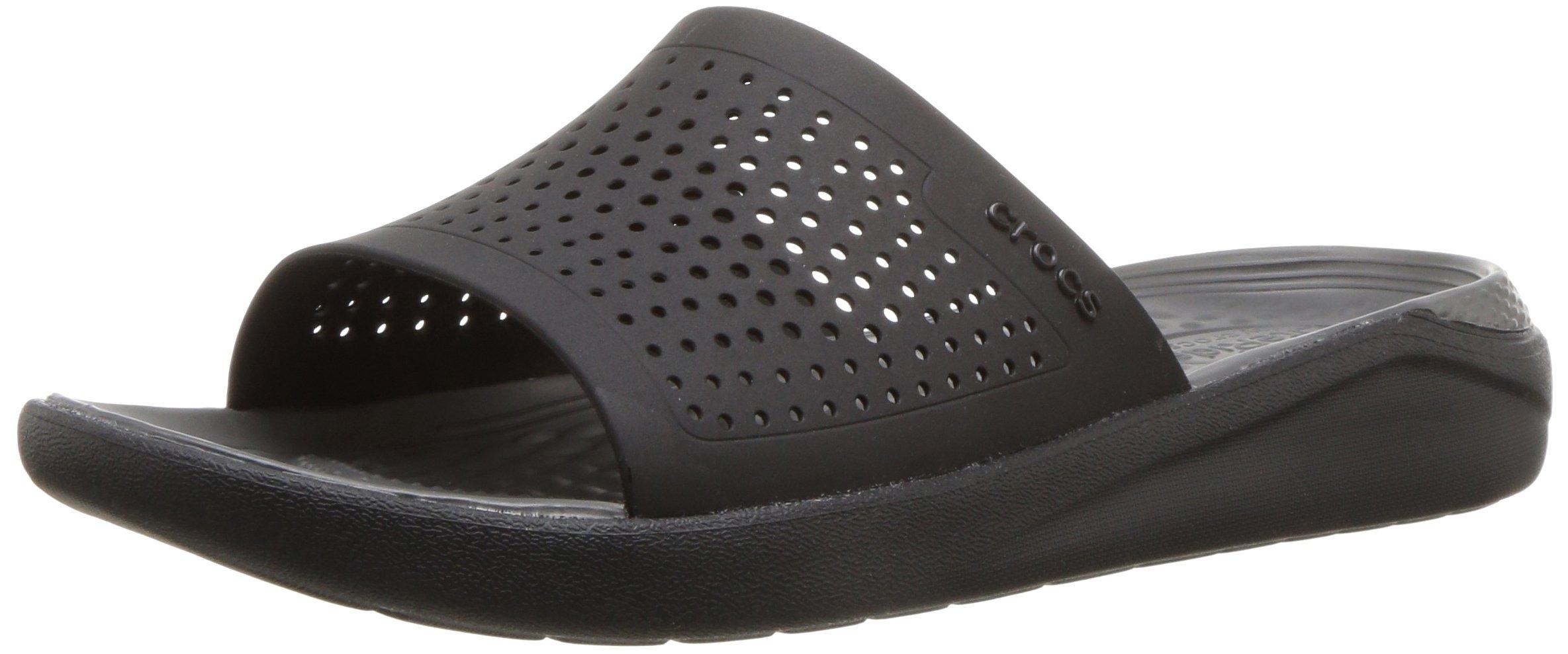 Crocs LiteRide Slide Sandal, Black/Slate Grey, 10 US Women / 8 US Men by Crocs