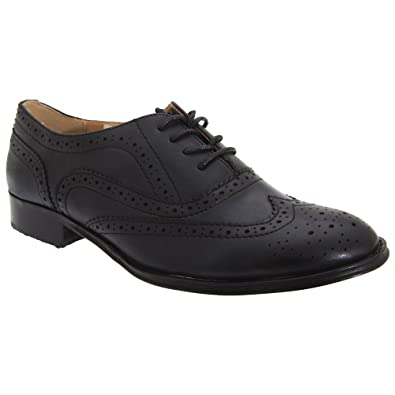 2e8d908fee4 Boulevard Womens Ladies Lace Brogue Shoes (7 US) (Black)
