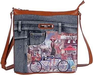 Nicole Lee Wanda Denim Print Buckle Cross Body Bag
