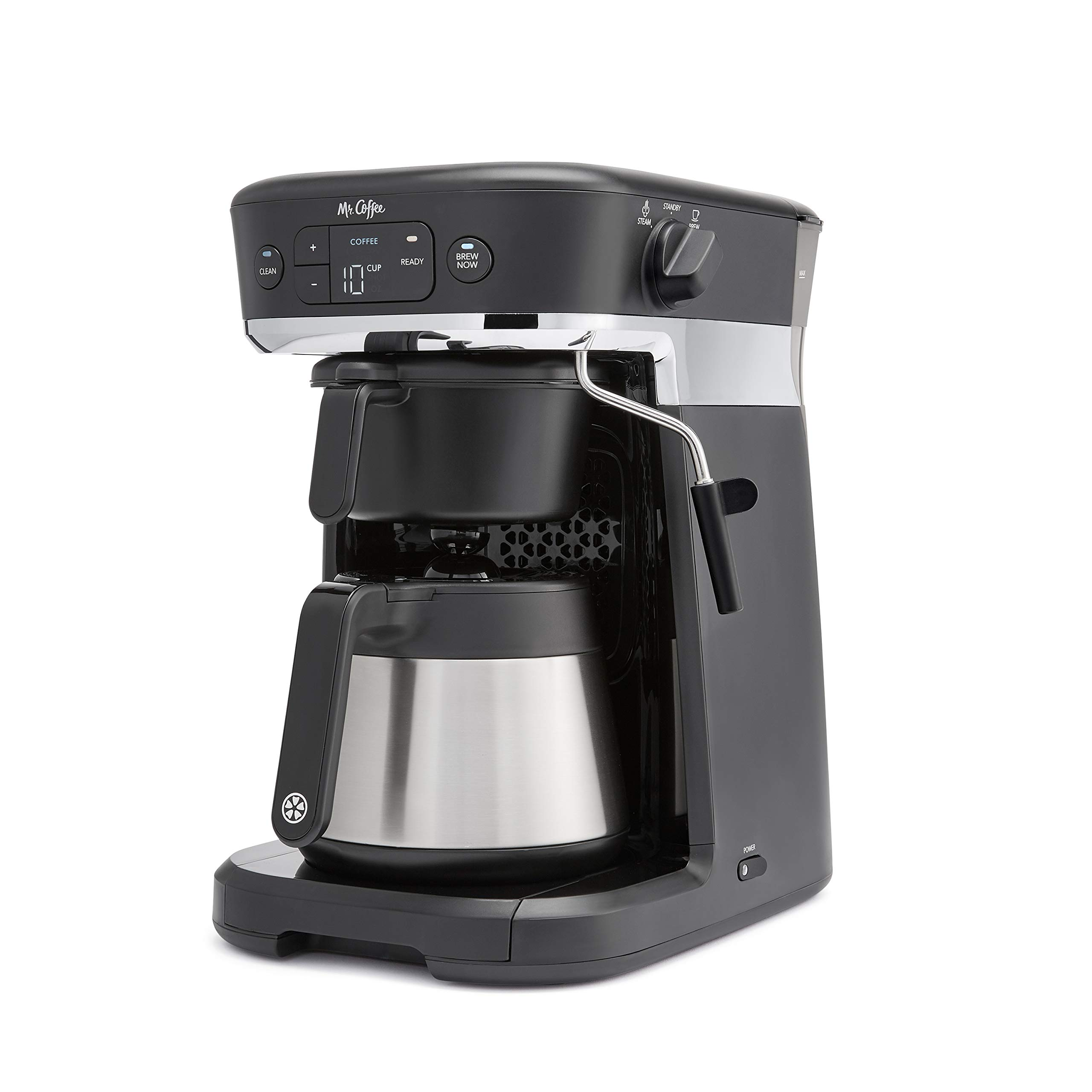 Mr. Coffee Occasions Coffee Maker   Thermal Carafe, Single Serve, Espresso & More   with Storage Tray, Black/Chrome by Mr. Coffee