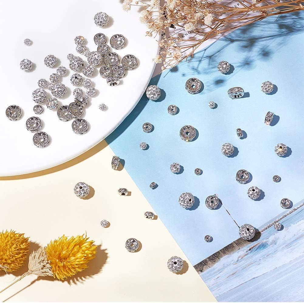 40pcs Perles de Cristal et 80pcs Perles Intercalaires en Strass en Cristal dargent pour la Fabrication de Bijoux de Boucle doreille de Bracelet PandaHall 120pcs 2 Styles 4//6//8//10mm Perles Strass