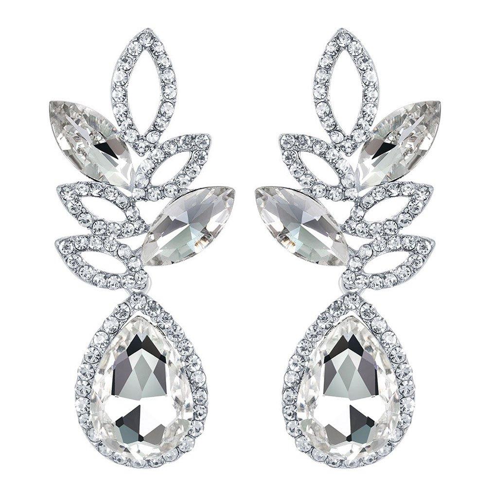 YAZILIND white topaz earrings rhinestone cubic zirconia hollow exaggerated luxurious