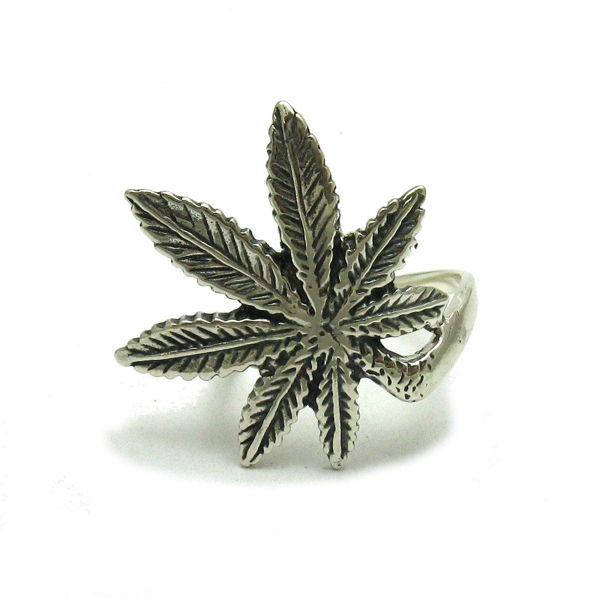 Bague en argent massif 925 Cannabis R000804 Empress