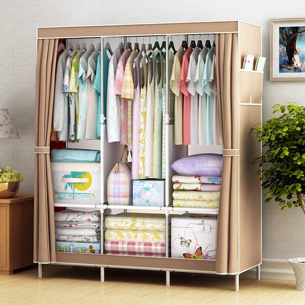 Schlafzimmer,125 x 45 x 168 cm Braun -125 F/ächern und Seitentasche LMWB Stoffschrank Kleiderschrank mit Kleiderstange Faltschrank Campingschrank