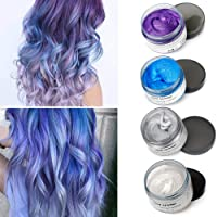 Temporary Hair Color Wax Wash Out Hair Color Hair Colorants 4 Colors - White Sliver Blue Purple Fun and Effective…