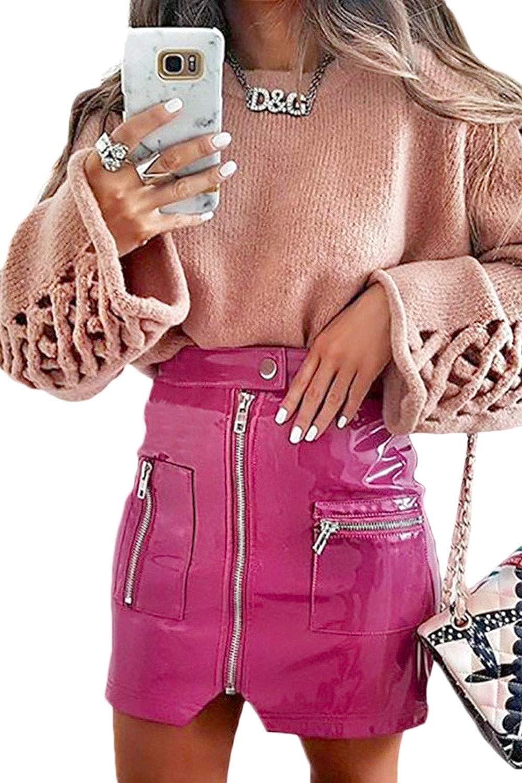 Minifaldas con Cremallera Y Cintura Alta De Imitación De Cuero para Mujer