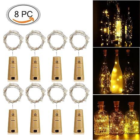LED Corcho Luces para Botella de Vino KUXIEN 8 PCS corcho de vino de luces,