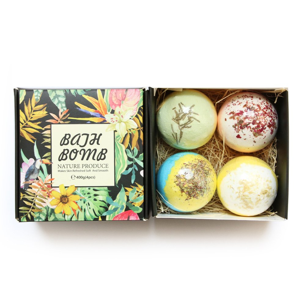 IDABAY 4 pcs Organic Bath Bombs Gift Set Moisturizing SPA Stress Relief Bubble Shower Salts Balls Dry Flowers Moisturizes Skin Natural Essential Oil Lush Fizzy Safe Gift Basket for Kids Men Women.