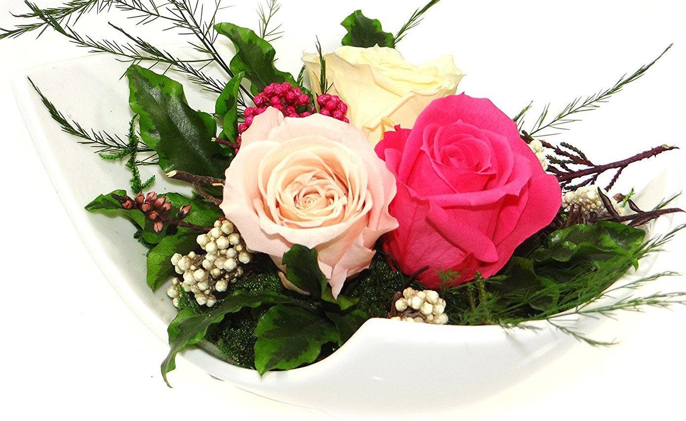 Rosen-te-amo Haltbare-Rosen Gesteck aus drei ECHTE PREMIUM Konservierte-Rosen der Farbe rosa, pink und champagne – unser EXKLUSIVES Blumen-arrangement wird handgemacht und mit Liebe gefertigt