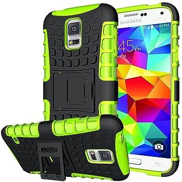 Conie Outdoor Hülle kompatibel mit Samsung Galaxy S5 Mini, verstärkte Schutzhülle rutschfest wasserabweisend Kantenschutz Rückschale Case in Grün